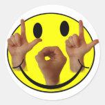 CARA DEL SMILEY DEL ASL LOL ETIQUETA REDONDA
