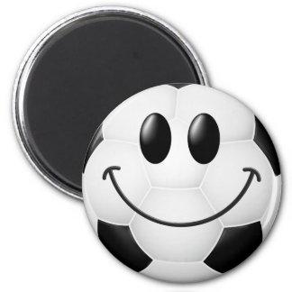 Cara del smiley del balón de fútbol iman para frigorífico