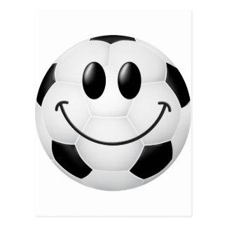 Cara del smiley del balón de fútbol postales