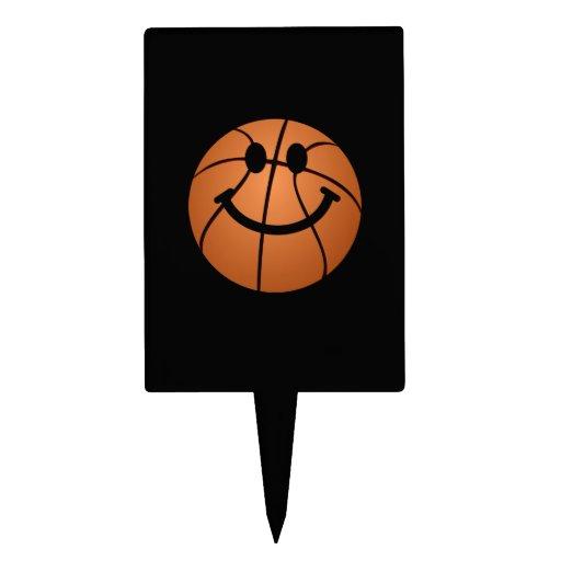 Cara del smiley del baloncesto decoraciones para tartas