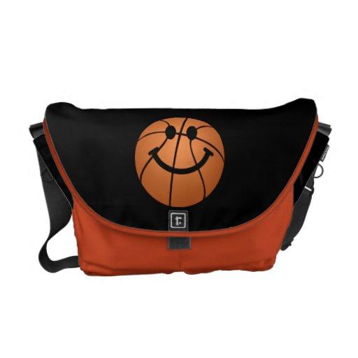 Cara del smiley del baloncesto bolsa messenger