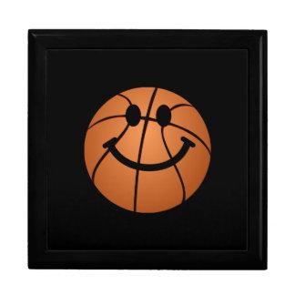 Cara del smiley del baloncesto cajas de recuerdo