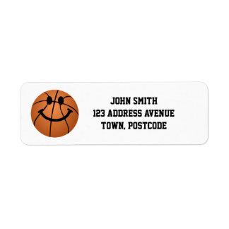 Cara del smiley del baloncesto etiqueta de remite