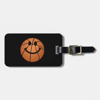 Cara del smiley del baloncesto etiqueta de equipaje