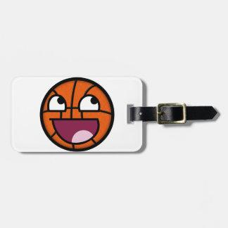 Cara del smiley del baloncesto etiquetas maletas