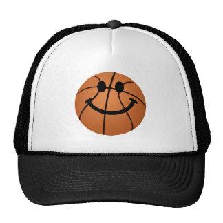 Cara del smiley del baloncesto gorros