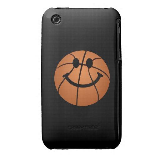 Cara del smiley del baloncesto iPhone 3 carcasas