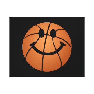 Cara del smiley del baloncesto lona estirada galerias