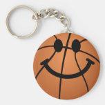 Cara del smiley del baloncesto llavero personalizado