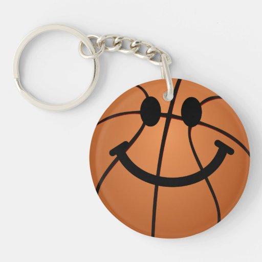 Cara del smiley del baloncesto llavero redondo acrílico a doble cara
