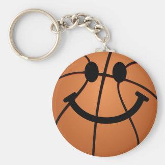 Cara del smiley del baloncesto llavero redondo tipo pin