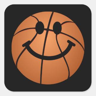 Cara del smiley del baloncesto colcomanias cuadradas personalizadas