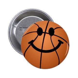 Cara del smiley del baloncesto pin redondo de 2 pulgadas