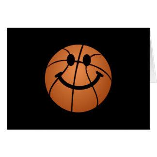 Cara del smiley del baloncesto tarjetas