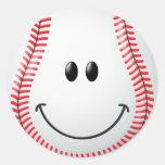 Cara del smiley del béisbol pegatina redonda