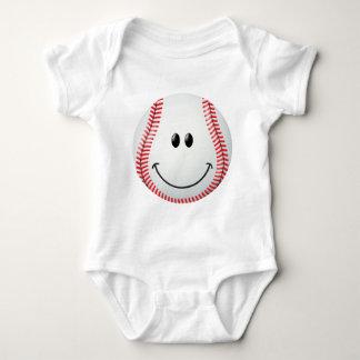 Cara del smiley del béisbol playeras