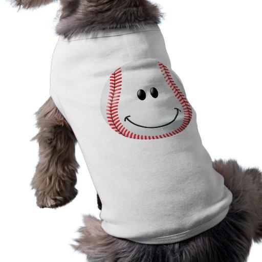 Cara del smiley del béisbol ropa para mascota