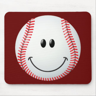 Cara del smiley del béisbol tapete de raton