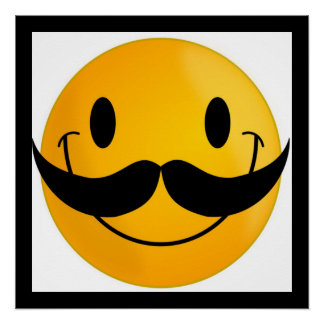 CARA DEL SMILEY DEL BIGOTE PERFECT POSTER