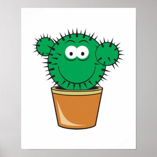Cara del smiley del cactus posters