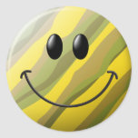 Cara del smiley del camuflaje etiqueta redonda