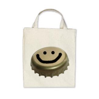 Cara del smiley del casquillo de la botella de cer bolsa