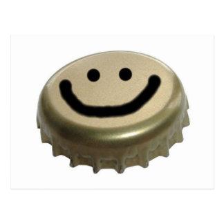Cara del smiley del casquillo de la botella de cer postales