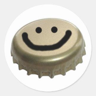 Cara del smiley del casquillo de la botella de pegatinas redondas