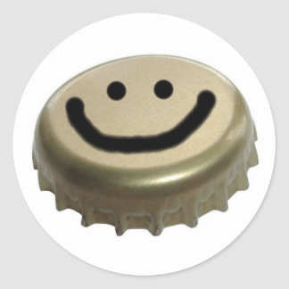Cara del smiley del casquillo de la botella de pegatina redonda
