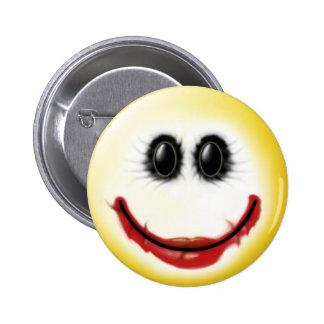 Cara del smiley del comodín pin redondo 5 cm