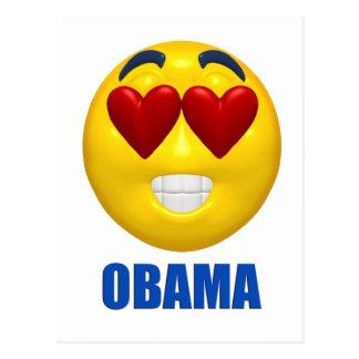Cara del smiley del corazón de Obama Postales