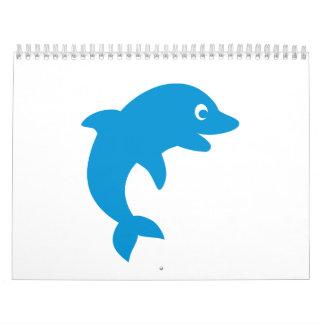 Cara del smiley del delfín calendario de pared
