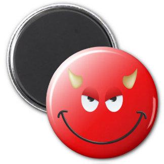 Cara del smiley del diablo imán redondo 5 cm