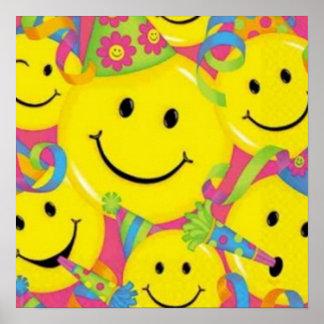 Cara del smiley del feliz cumpleaños poster
