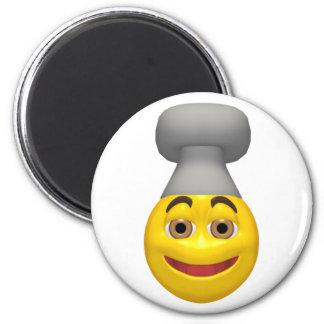 Cara del smiley del gorra del cocinero del cociner imanes para frigoríficos