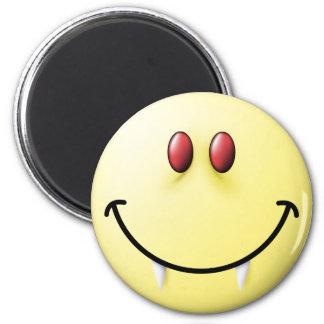 Cara del smiley del vampiro imán redondo 5 cm