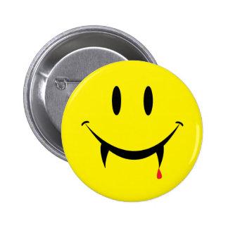Cara del smiley del vampiro pin redondo 5 cm