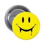 Cara del smiley del vampiro pin redondo de 2 pulgadas