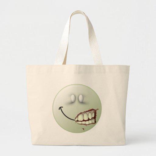 Cara del smiley del zombi bolsa de mano