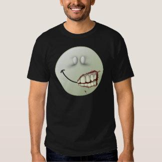 Cara del smiley del zombi camisas