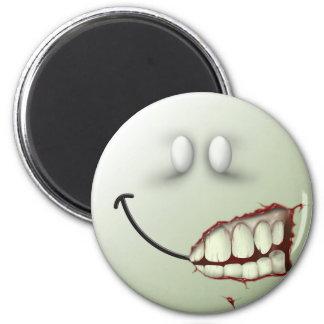 Cara del smiley del zombi imán redondo 5 cm