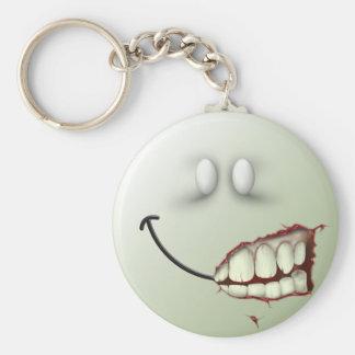 Cara del smiley del zombi llavero redondo tipo pin