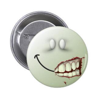 Cara del smiley del zombi pin redondo 5 cm
