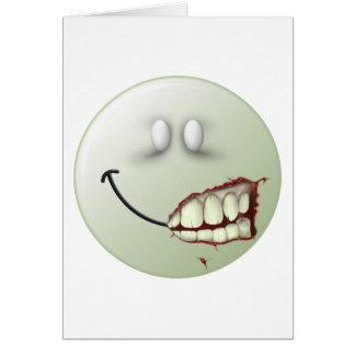 Cara del smiley del zombi tarjeta de felicitación