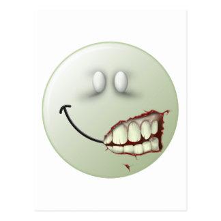Cara del smiley del zombi tarjetas postales