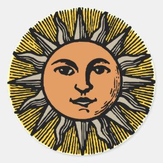 Cara del sol del vintage pegatinas redondas