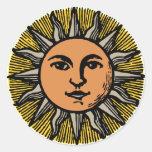 Cara del sol del vintage pegatina redonda