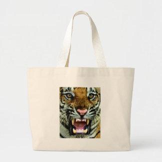 cara del tigre bolsa tela grande