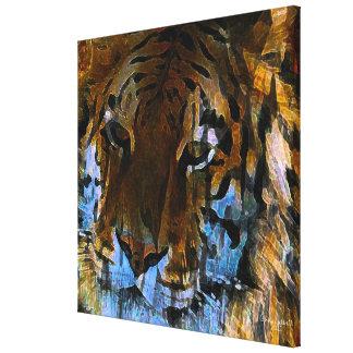 Cara del tigre lona envuelta para galerias