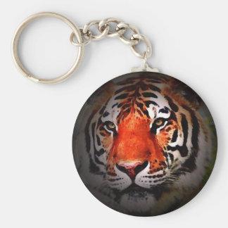 Cara del tigre llavero redondo tipo pin